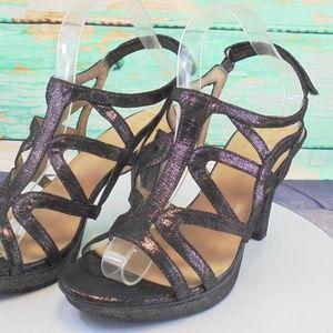 Naturalizer Danya Black/Pewter Strappy Heels 9 W